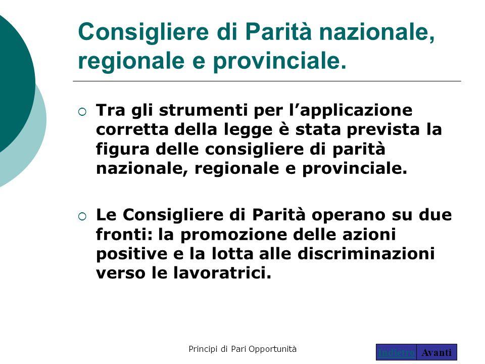 Consigliere di Parità nazionale, regionale e provinciale.
