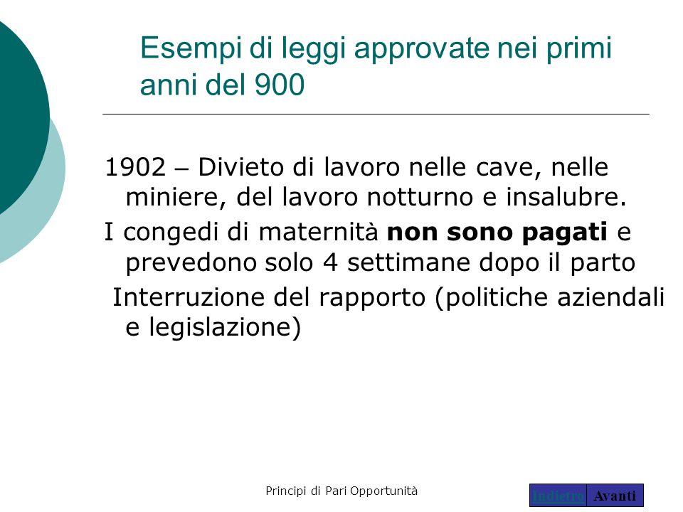 Esempi di leggi approvate nei primi anni del 900