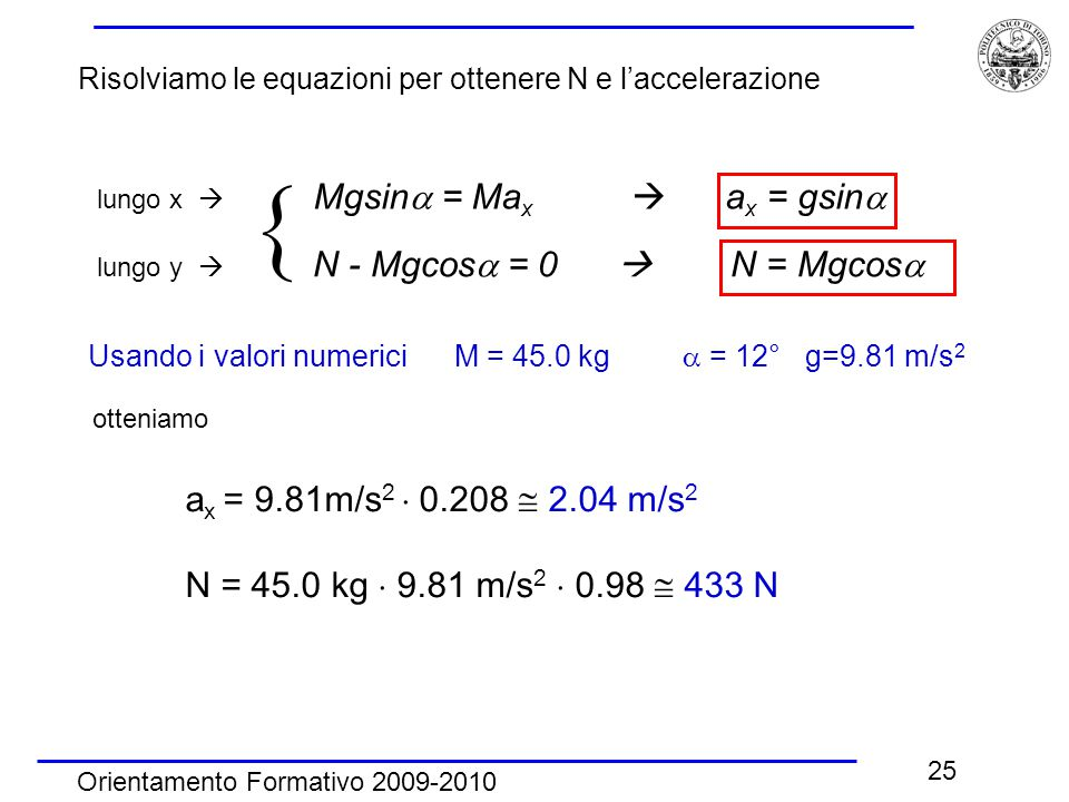Risolviamo le equazioni per ottenere N e l'accelerazione