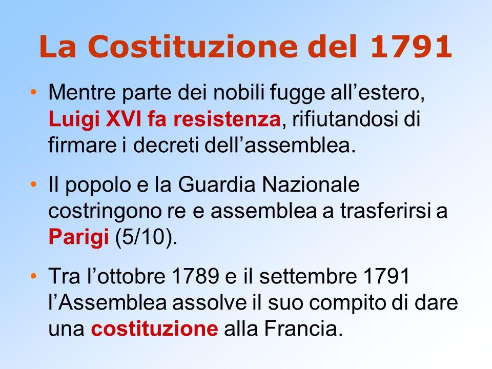 La Costituzione del 1791 Mentre parte dei nobili fugge all'estero, Luigi XVI fa resistenza, rifiutandosi di firmare i decreti dell'assemblea.