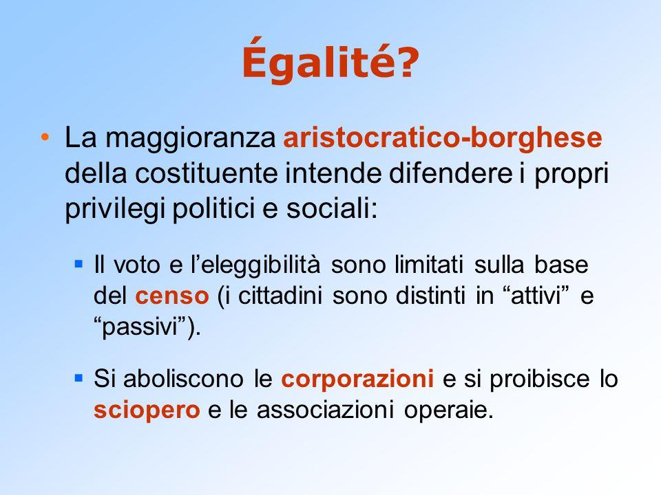 Égalité La maggioranza aristocratico-borghese della costituente intende difendere i propri privilegi politici e sociali: