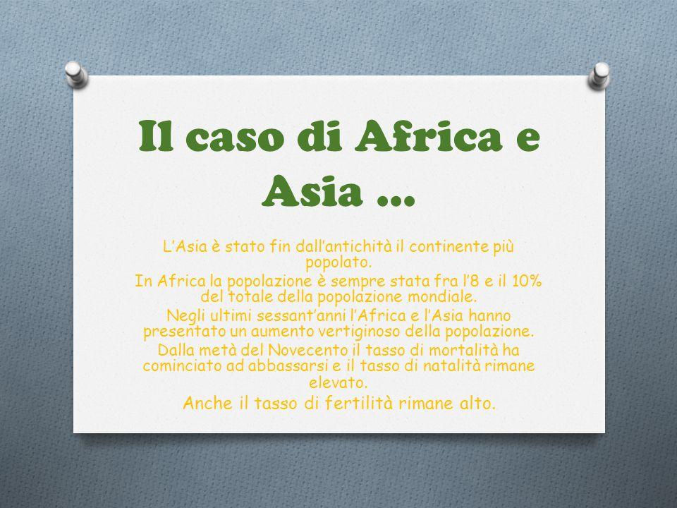 Il caso di Africa e Asia ... Anche il tasso di fertilità rimane alto.