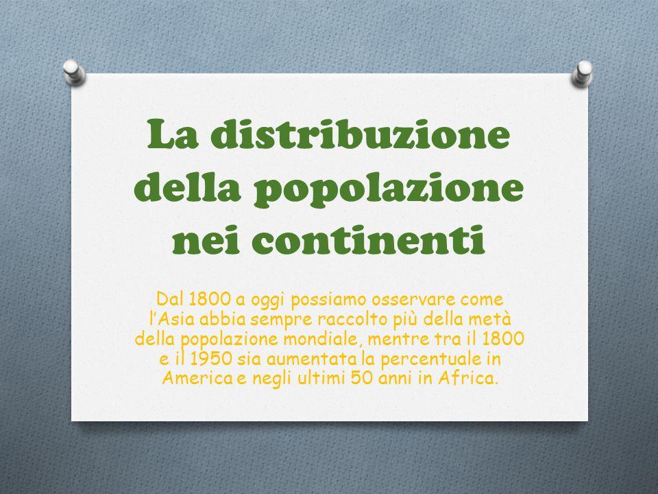 La distribuzione della popolazione nei continenti