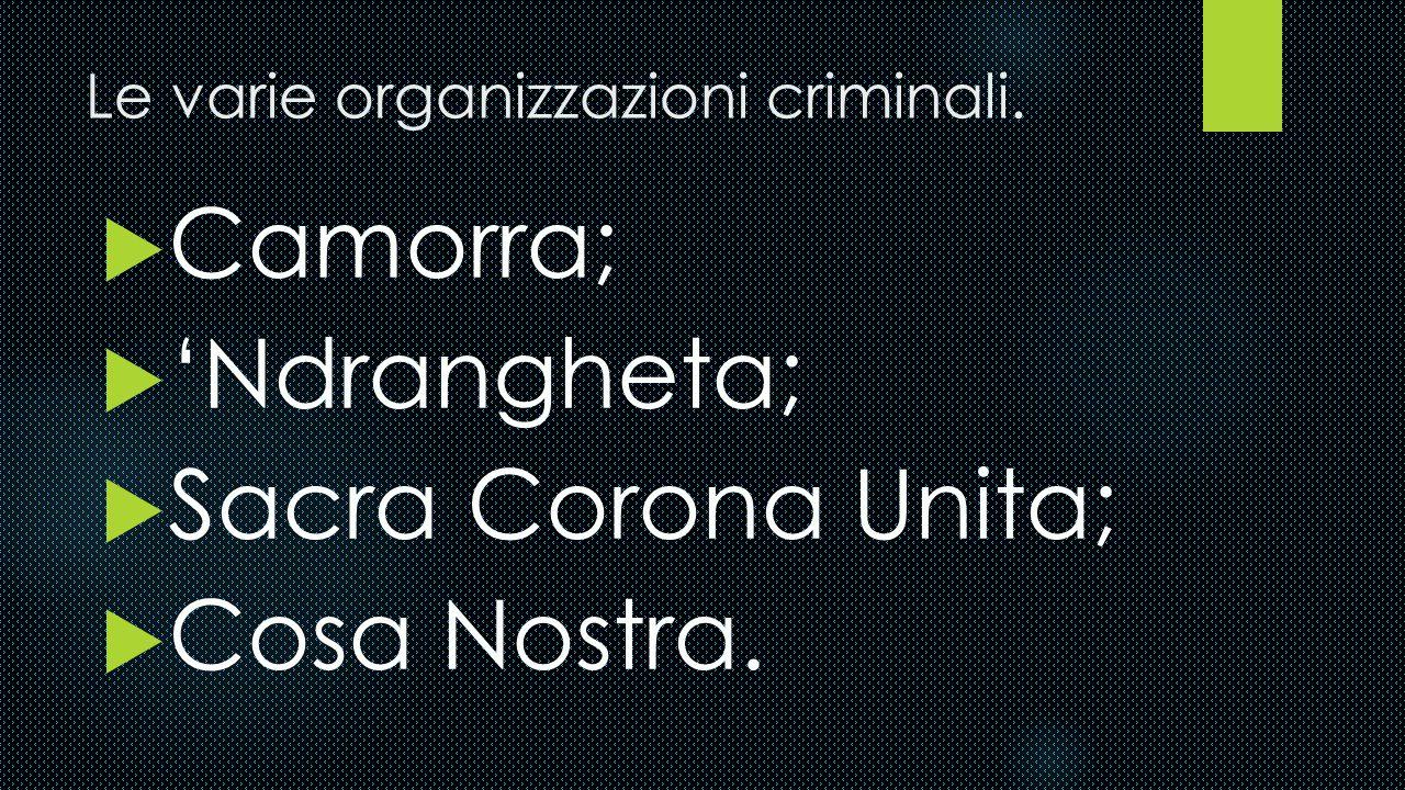 Le varie organizzazioni criminali.