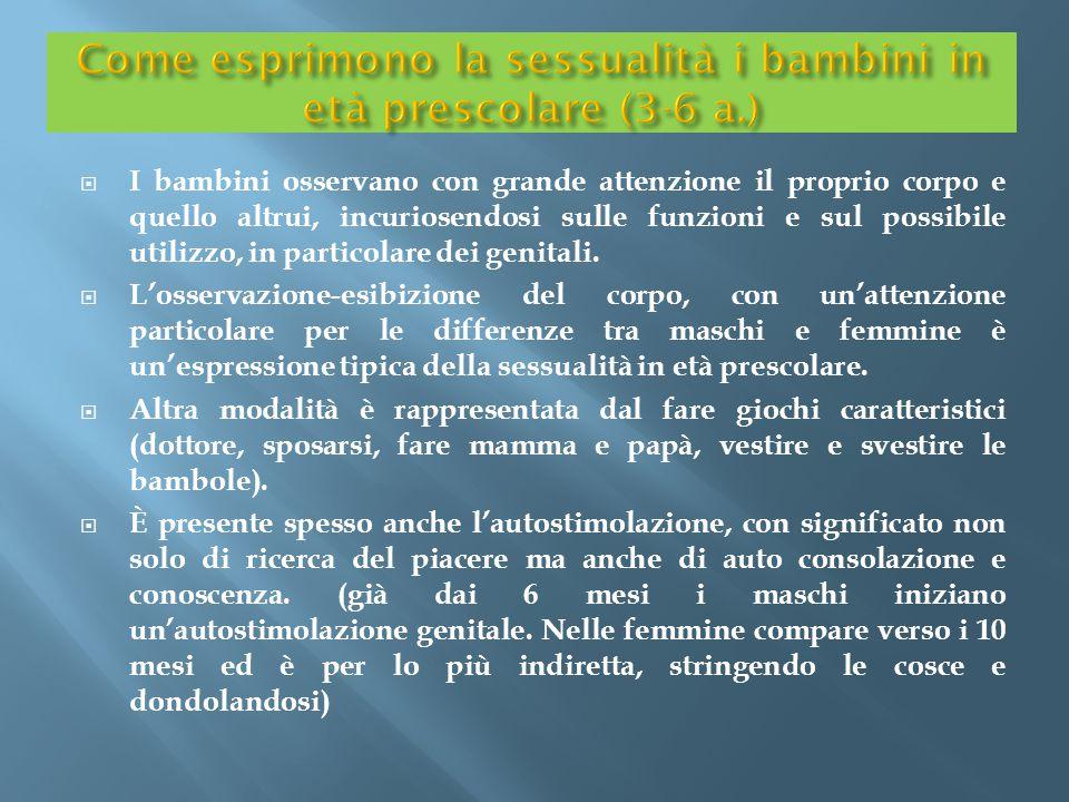 Come esprimono la sessualità i bambini in età prescolare (3-6 a.)