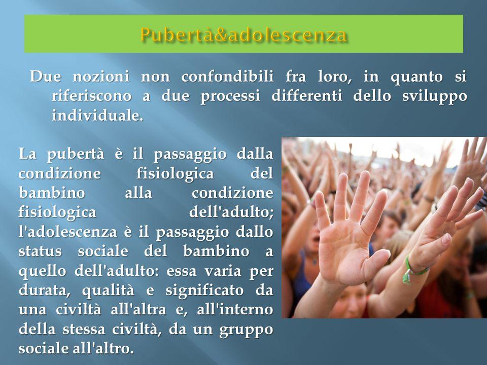 Pubertà&adolescenza Due nozioni non confondibili fra loro, in quanto si riferiscono a due processi differenti dello sviluppo individuale.