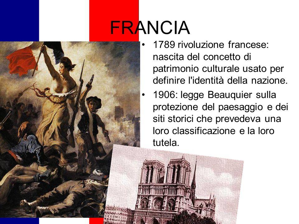 FRANCIA 1789 rivoluzione francese: nascita del concetto di patrimonio culturale usato per definire l identità della nazione.