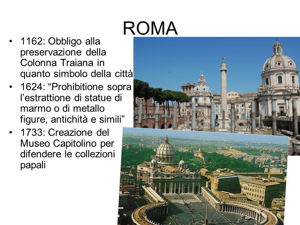 ROMA 1162: Obbligo alla preservazione della Colonna Traiana in quanto simbolo della città.