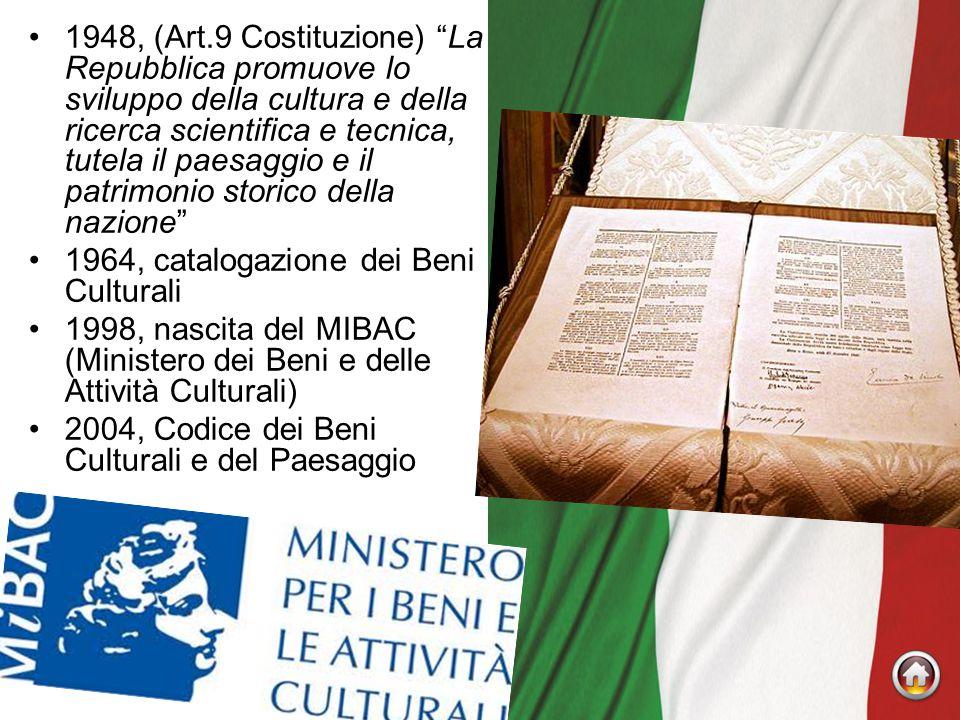 1948, (Art.9 Costituzione) La Repubblica promuove lo sviluppo della cultura e della ricerca scientifica e tecnica, tutela il paesaggio e il patrimonio storico della nazione