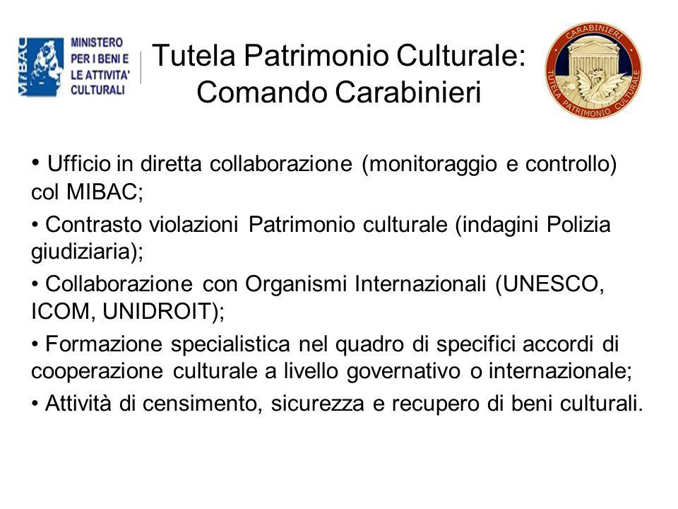 Tutela Patrimonio Culturale: Comando Carabinieri
