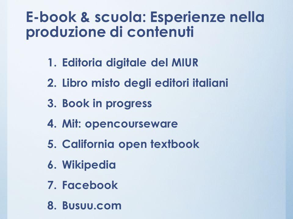 E-book & scuola: Esperienze nella produzione di contenuti