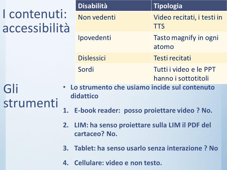 I contenuti: accessibilità
