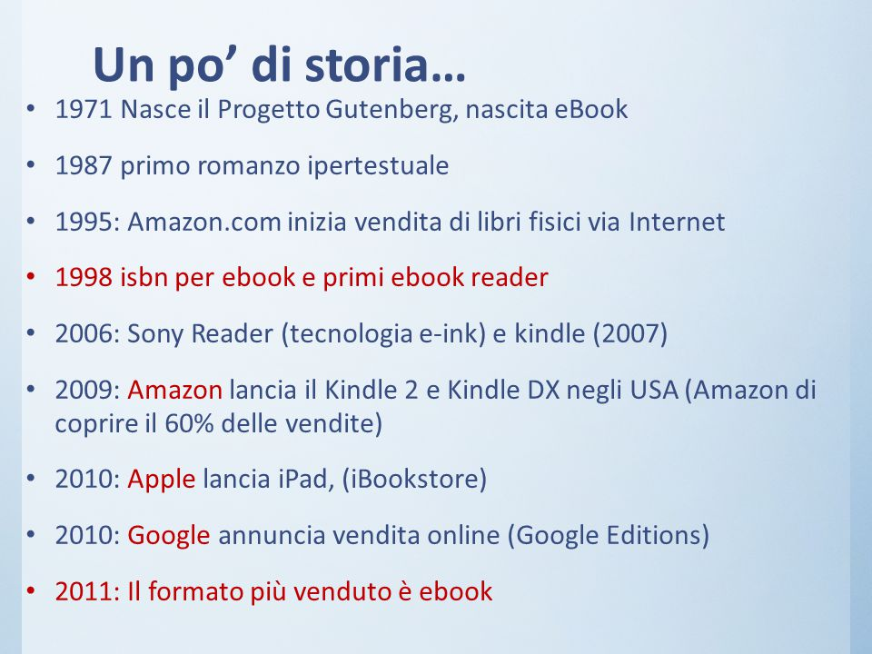 Un po' di storia… 1971 Nasce il Progetto Gutenberg, nascita eBook