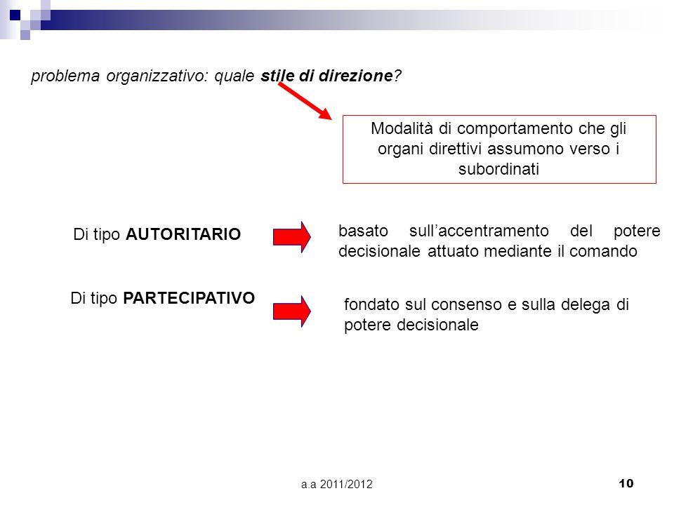 problema organizzativo: quale stile di direzione