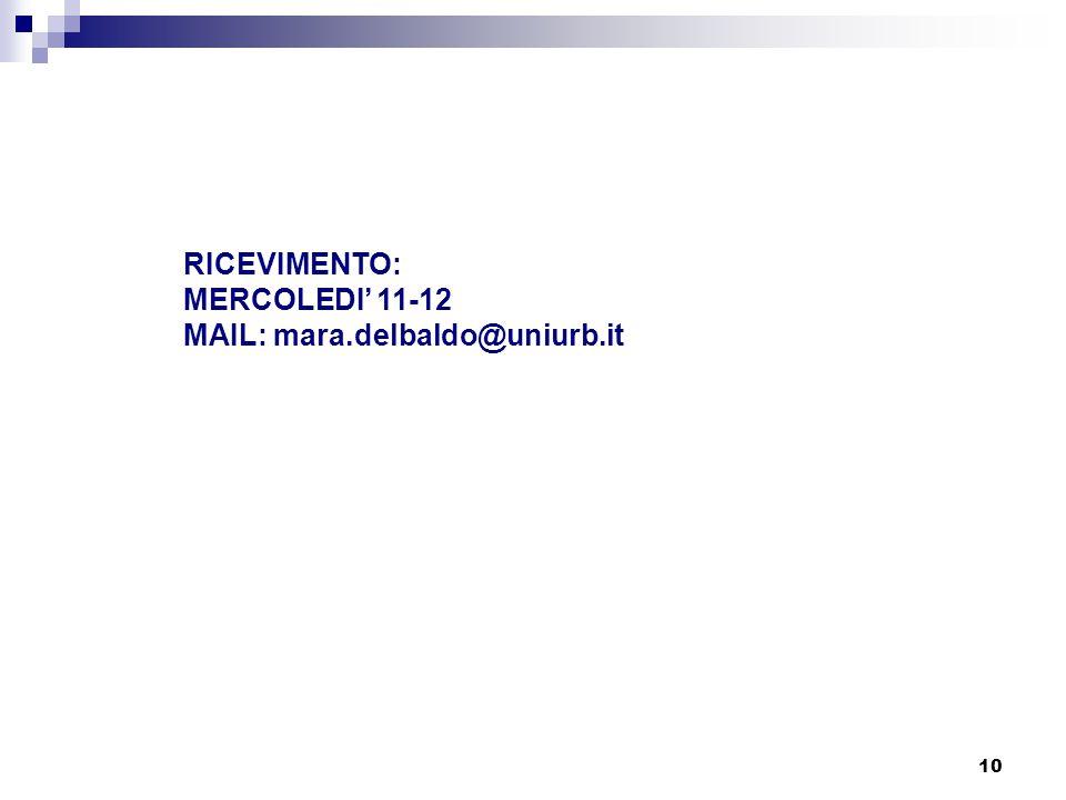 RICEVIMENTO: MERCOLEDI' 11-12 MAIL: mara.delbaldo@uniurb.it