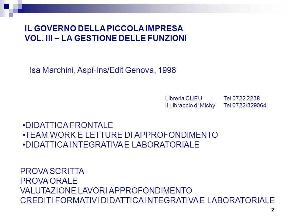 IL GOVERNO DELLA PICCOLA IMPRESA VOL. III – LA GESTIONE DELLE FUNZIONI