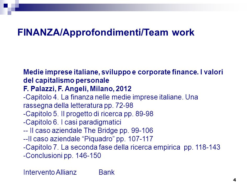 FINANZA/Approfondimenti/Team work