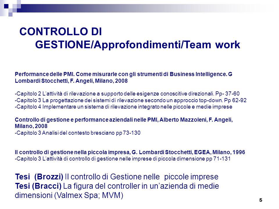 CONTROLLO DI GESTIONE/Approfondimenti/Team work