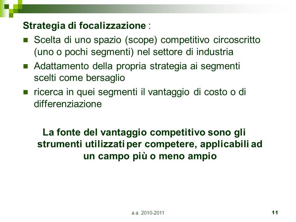 Strategia di focalizzazione :