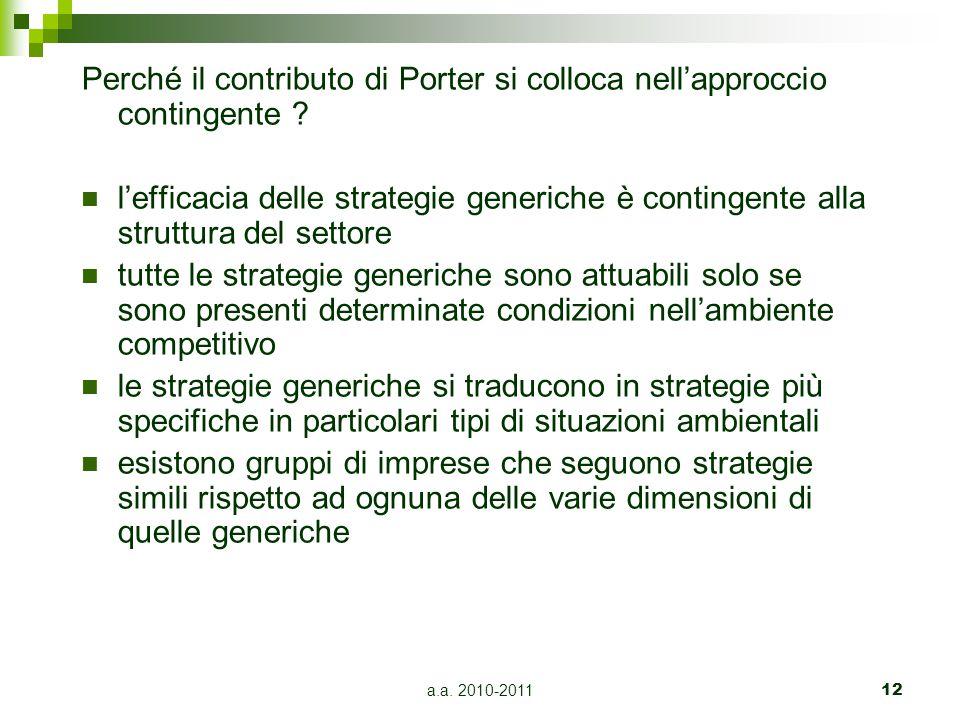 Perché il contributo di Porter si colloca nell'approccio contingente