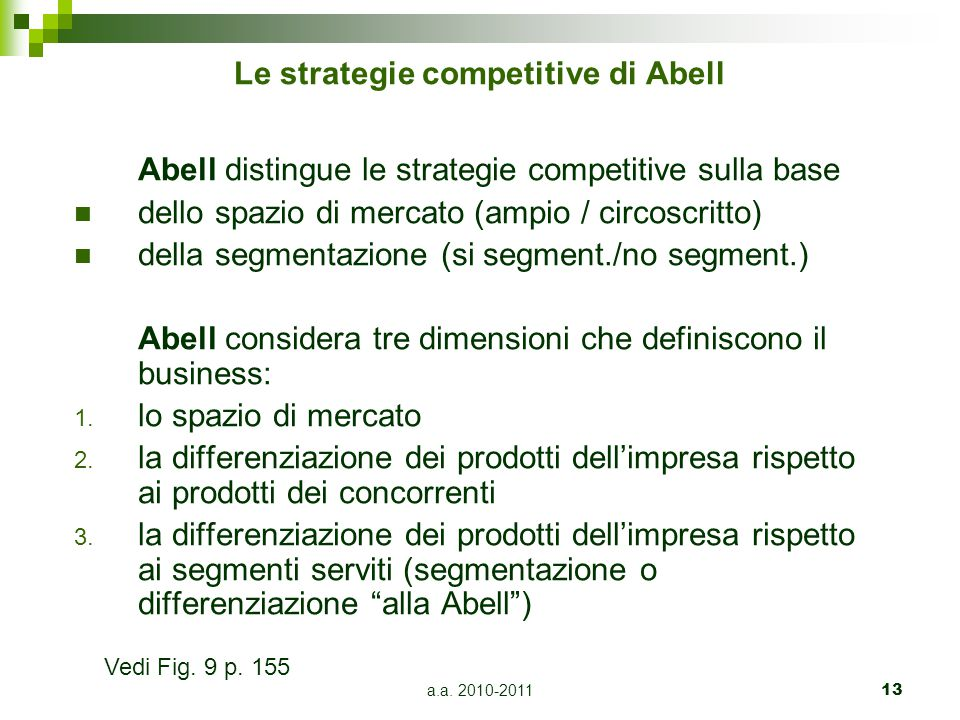 Le strategie competitive di Abell