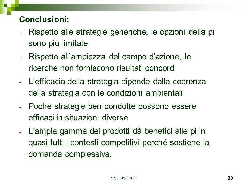 Conclusioni: Rispetto alle strategie generiche, le opzioni della pi sono più limitate.