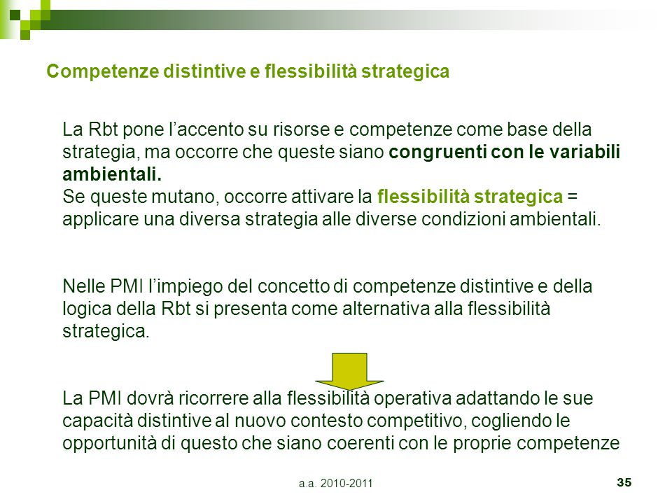 Competenze distintive e flessibilità strategica