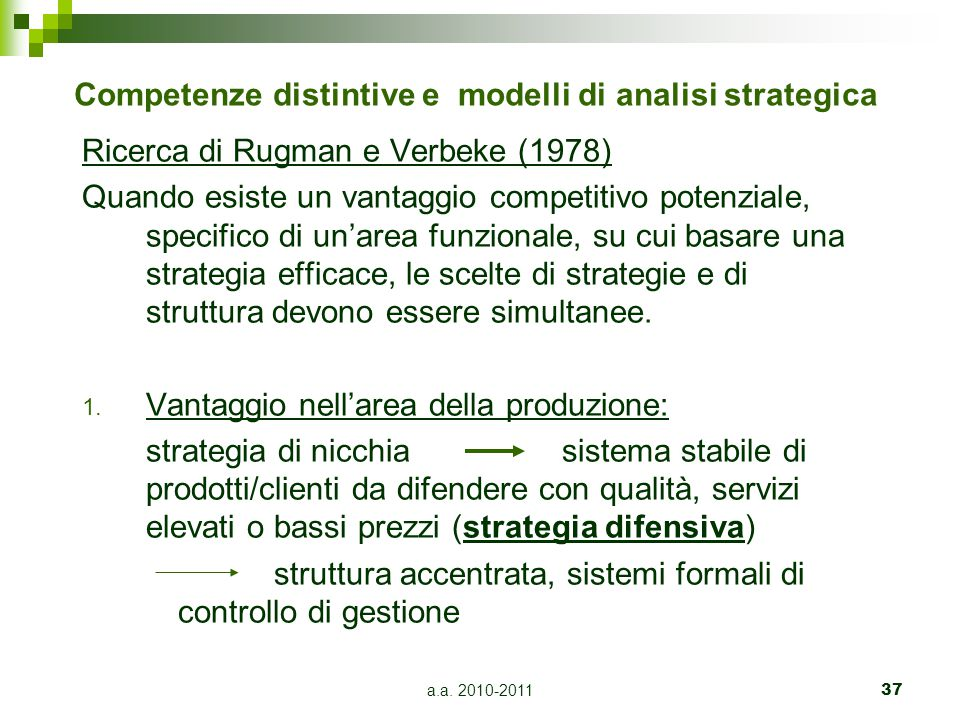 Competenze distintive e modelli di analisi strategica