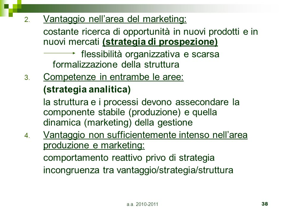 Vantaggio nell'area del marketing: