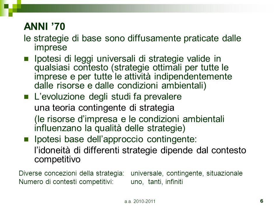 ANNI '70 le strategie di base sono diffusamente praticate dalle imprese.