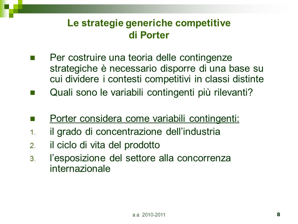 Le strategie generiche competitive di Porter