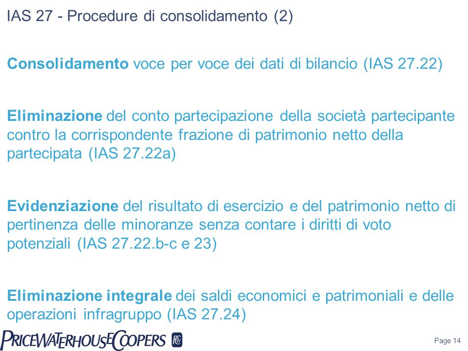 IAS 27 - Procedure di consolidamento (2)