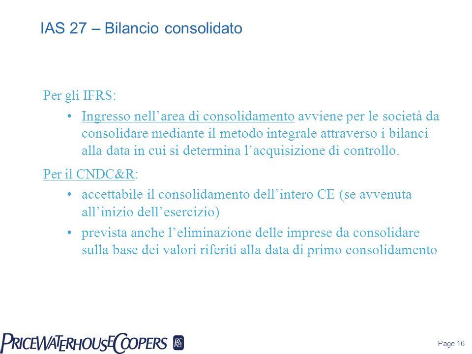 IAS 27 – Bilancio consolidato