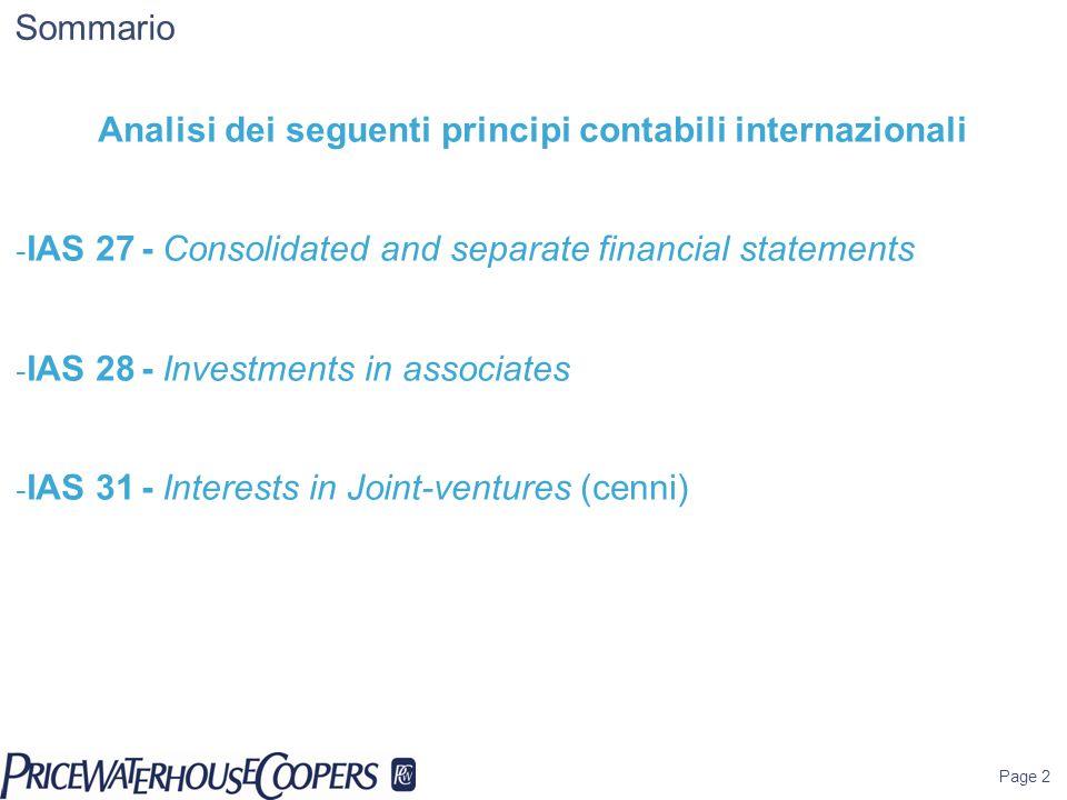 Analisi dei seguenti principi contabili internazionali