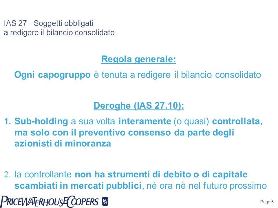 IAS 27 - Soggetti obbligati a redigere il bilancio consolidato