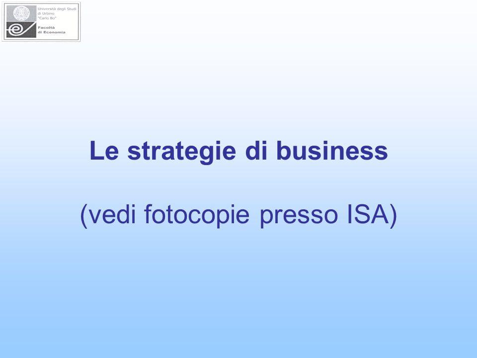 Le strategie di business (vedi fotocopie presso ISA)