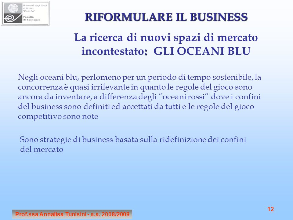 RIFORMULARE IL BUSINESS