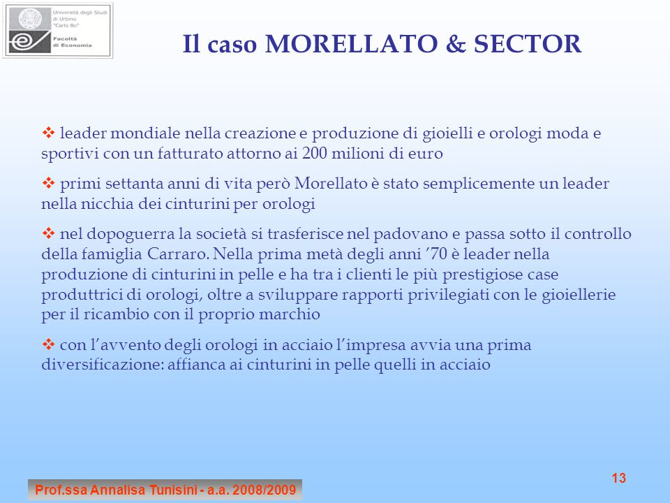 Il caso MORELLATO & SECTOR Prof.ssa Annalisa Tunisini - a.a. 2008/2009