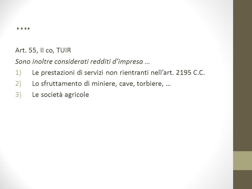 …. Art. 55, II co, TUIR Sono inoltre considerati redditi d'impresa …