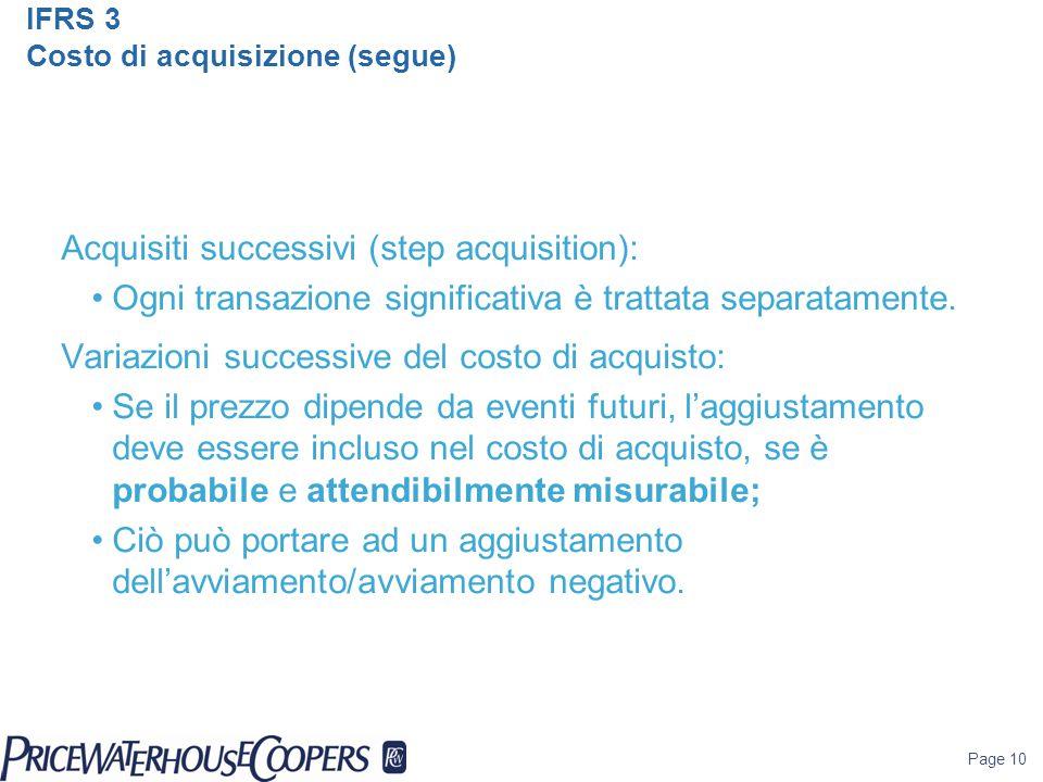 IFRS 3 Costo di acquisizione (segue)