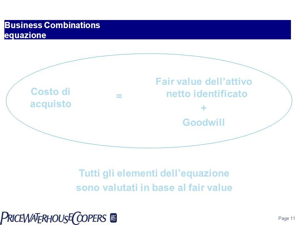 Business Combinations equazione