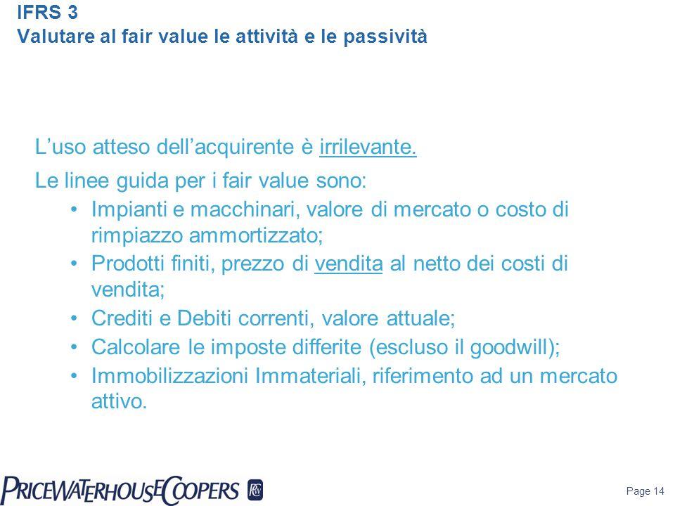 IFRS 3 Valutare al fair value le attività e le passività