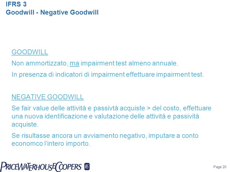 IFRS 3 Goodwill - Negative Goodwill