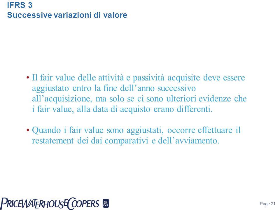 IFRS 3 Successive variazioni di valore