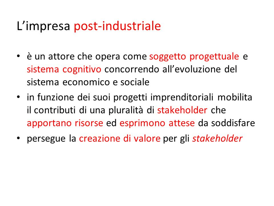 L'impresa post-industriale