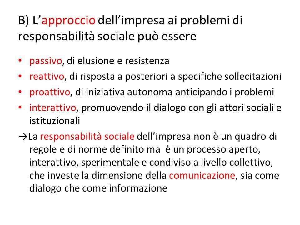 B) L'approccio dell'impresa ai problemi di responsabilità sociale può essere