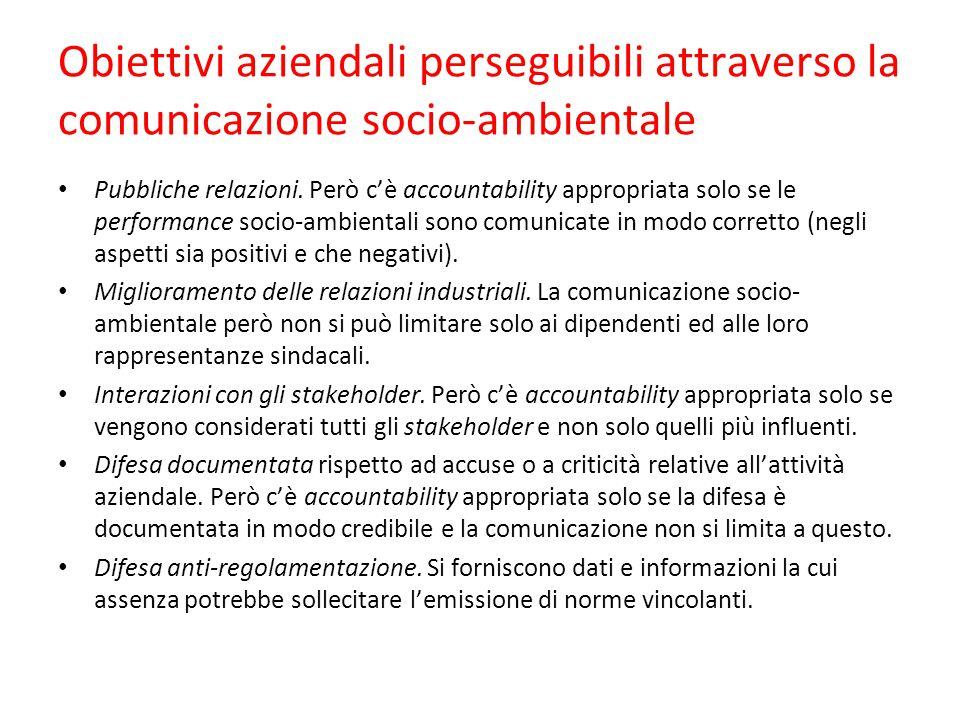 Obiettivi aziendali perseguibili attraverso la comunicazione socio-ambientale