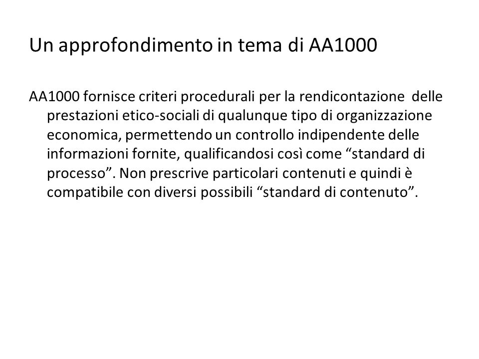 Un approfondimento in tema di AA1000