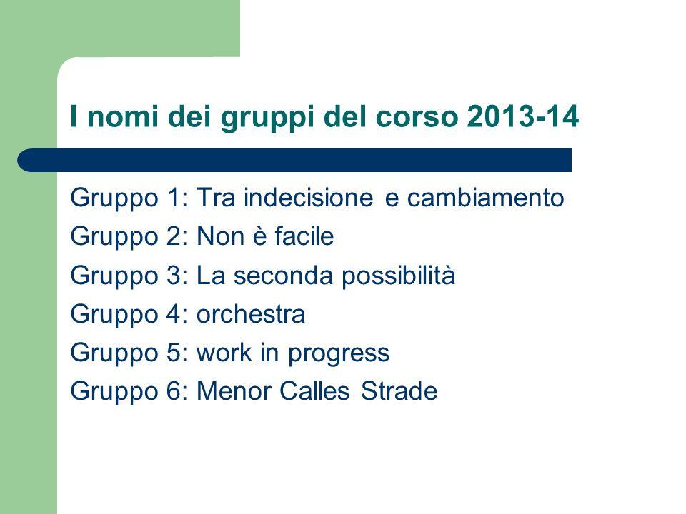 I nomi dei gruppi del corso 2013-14