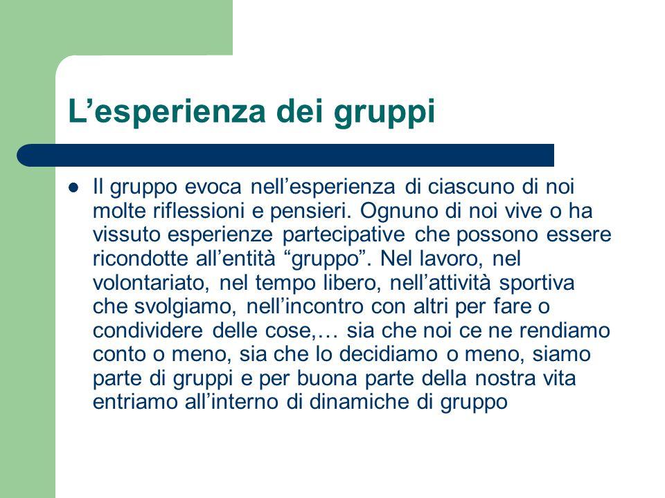 L'esperienza dei gruppi